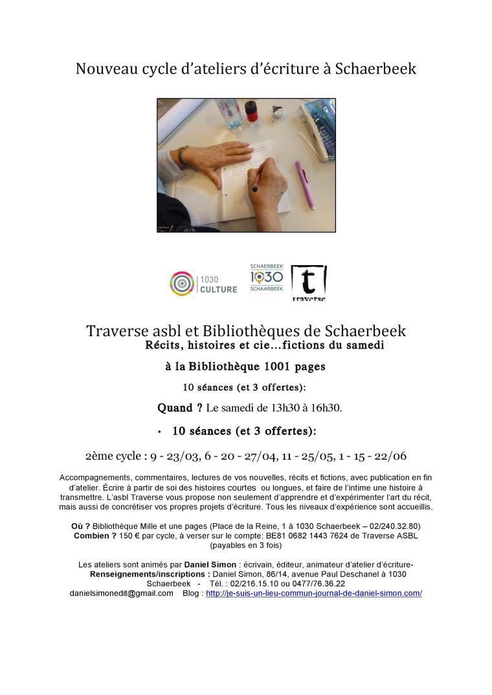 Nouveau cycle d'ateliers d'écriture à Schaerbeek